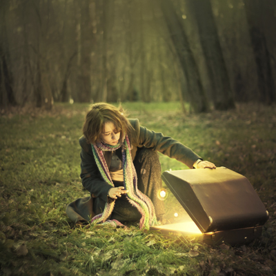 Girl with magic box